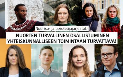 Nuoriso- ja opiskelijajärjestöt: Nuorten turvallinen osallistuminen yhteiskunnalliseen toimintaan turvattava