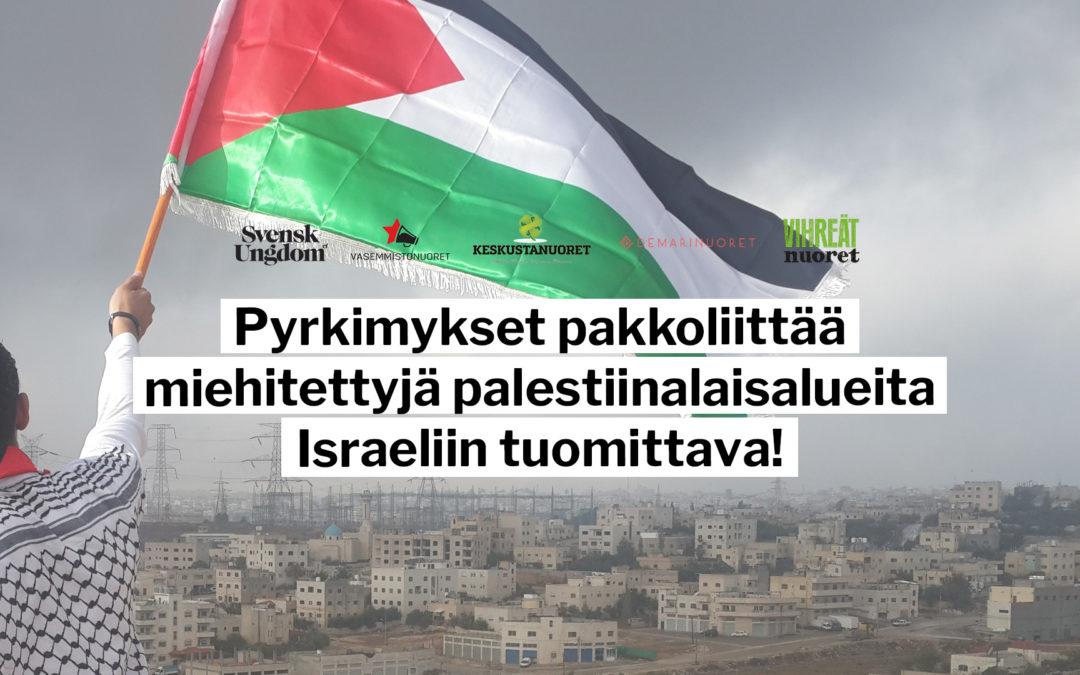 Hallituspuolueiden nuorisojärjestöt: Pyrkimykset pakkoliittää miehitettyjä palestiinalaisalueita Israeliin tuomittava