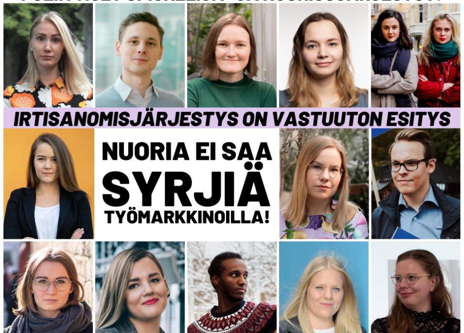 Poliittiset opiskelija- ja nuorisojärjestöt: Irtisanomisjärjestys on vastuuton esitys – Nuoria ei saa syrjiä työmarkkinoilla!